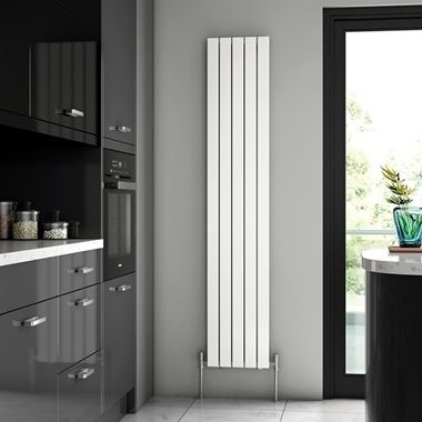 Brenton Flat Single Panel Vertical Radiator - 1800 x 340mm - White