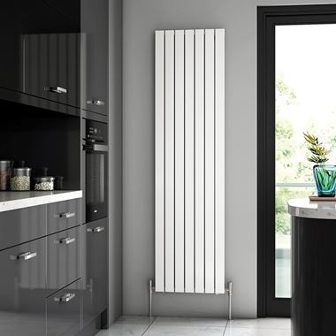 Brenton Flat Single Panel Vertical Radiator - 1800 x 475mm - White