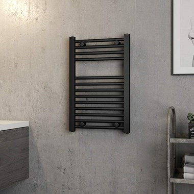 Brenton Matt Black Flat Heated Towel Rail - 700 x 450mm