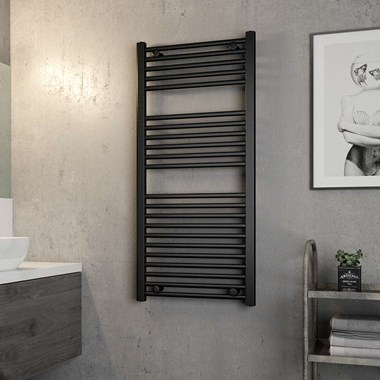 Brenton Matt Black Flat Heated Towel Rail - 1200 x 550mm