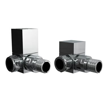 Brenton Square Corner Radiator Valves - Chrome