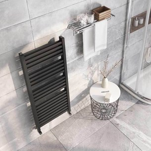 Brenton Pagosa Anthracite Heated Towel Rail - Double Layer Design - 1200 x 500mm