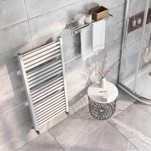 Brenton Pagosa White Heated Towel Rail - Double Layer Design - 1200 x 500mm