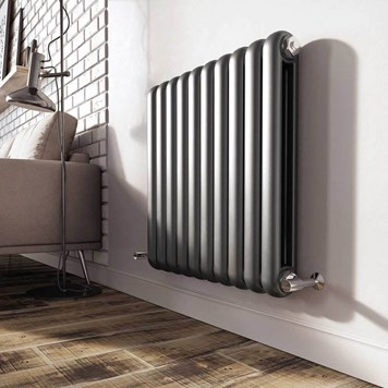 Brenton Saturnia Anthracite Horizontal Column Radiator - 600 x 622mm