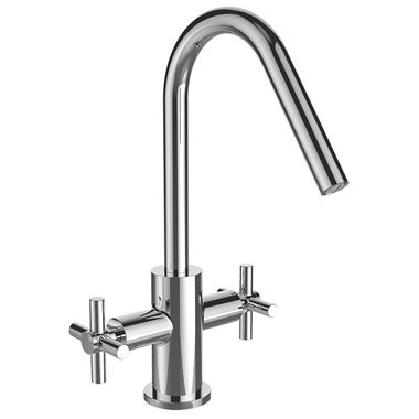 Bristan Pecan Twin Handle Mono Kitchen Sink Mixer - Polished Chrome
