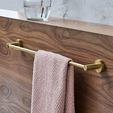 Britton Bathrooms Hoxton 600mm Single Towel Rail - Brushed Brass