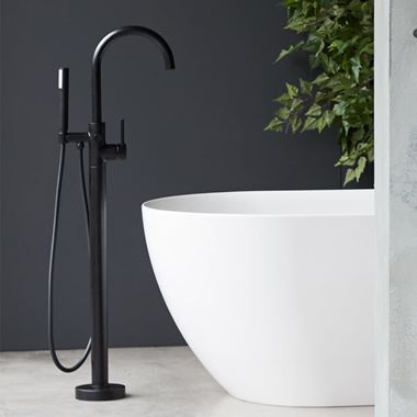 Britton Bathrooms Hoxton Floorstanding Bath Shower Mixer Tap - Matt Black