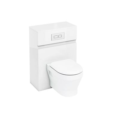 Britton Bathrooms 600mm Back To Wall Toilet Unit with Dual Flush Cistern and Flush Plate - White