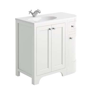 Butler & Rose Benedict 900mm Left Hand Corner Vanity Unit & Basin - Arctic White