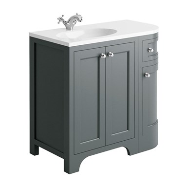 Butler & Rose Benedict 900mm Left Hand Corner Vanity Unit & Basin - Spa Grey