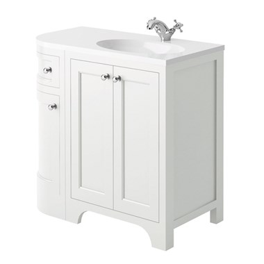 Butler & Rose Benedict 900mm Right Hand Corner Vanity Unit & Basin - Arctic White