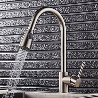 Premier Swan Neck Pullout Kitchen Spray Tap - Brushed Steel