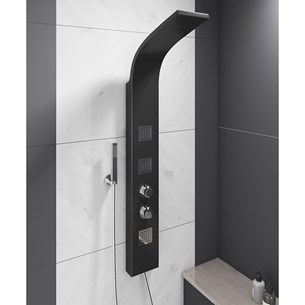 Vellamo Thermostatic Black Shower Tower with Rainfall Head and Body Jets
