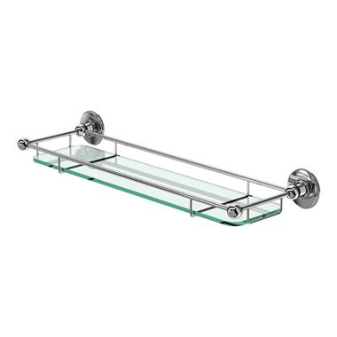 Burlington Wall Mounted Chrome and Glass Shelf