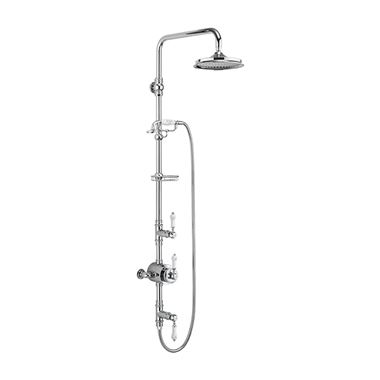 Burlington Stour Exposed Thermostatic Shower Valve with AirBurst Fixed Shower Head, Ceramic Shower Handset & Rigid Riser