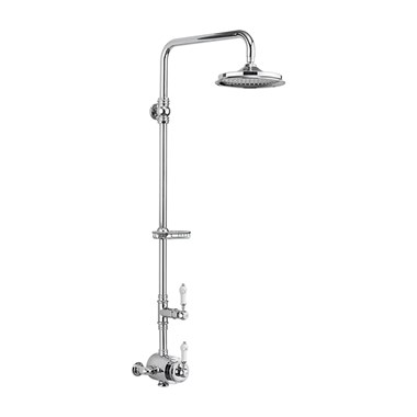 Burlington Stour Exposed Thermostatic Shower Kit with AirBurst Shower Head & Rigid Riser