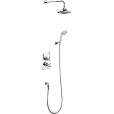 Burlington Trent Concealed Thermostatic Shower Kit with AirBurst Shower Head & Ceramic Handle Handset