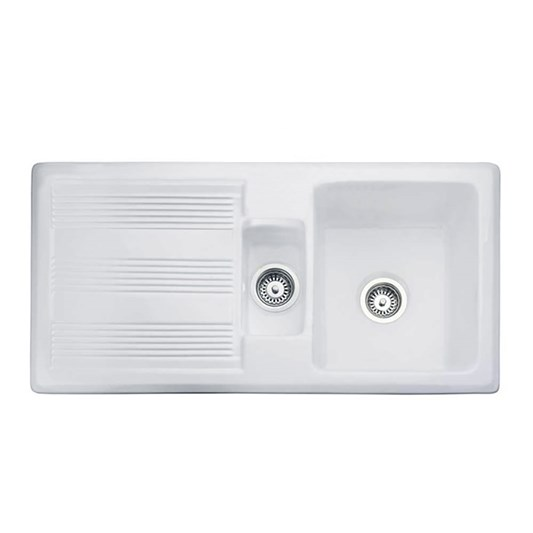 Butler & Rose 1.5 Bowl White Ceramic Kitchen Sink with ...