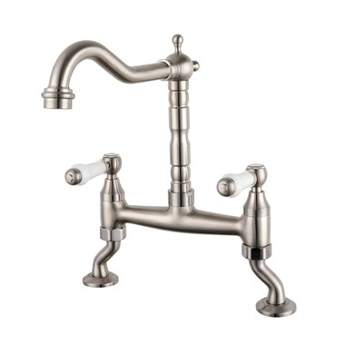 Butler & Rose Alba French Kitchen Bridge Mixer - Brushed Nickel