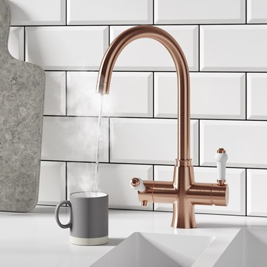 Butler & Rose 3-in-1 Traditional Instant Hot Water Kitchen Mixer & Filter Unit - Brushed Copper