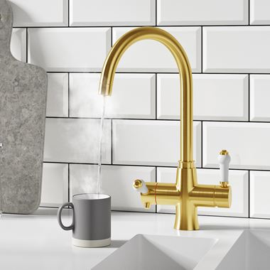 Butler & Rose 3-in-1 Traditional Instant Hot Water Kitchen Mixer & Filter Unit - Brushed Gold