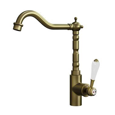 Butler & Rose Carlton Single Lever Traditional Mono Kitchen Mixer Tap - Brushed Brass