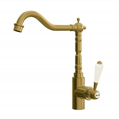 Butler & Rose Carlton Single Lever Traditional Mono Kitchen Mixer Tap - Brushed Gold