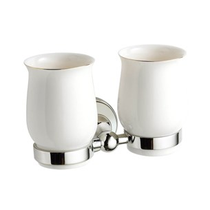 Butler & Rose Catherine Wall Mounted Ceramic Double Tumbler & Holder