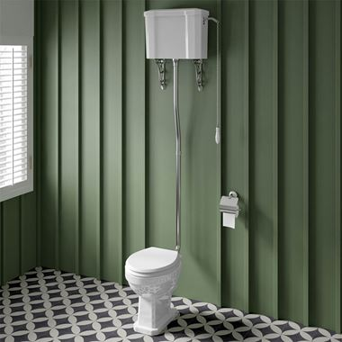 Butler & Rose Catherine Traditional High Level Toilet with Pan, Cistern & Flush Pipe Kit