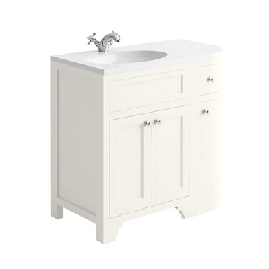 Butler & Rose Charlotte 900mm Left Hand Corner Vanity Unit & Basin - Almond White