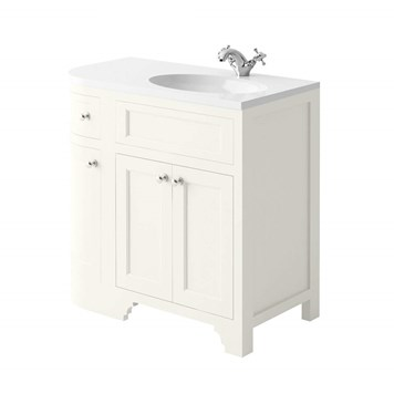 Butler & Rose Charlotte 900mm Right Hand Corner Vanity Unit & Basin - Almond White