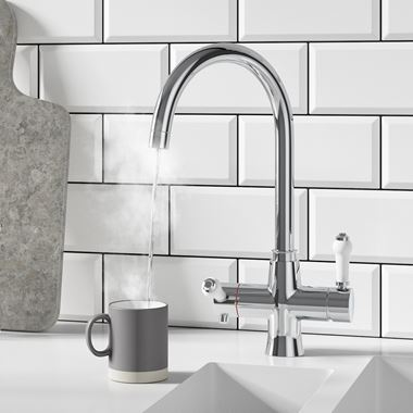 Butler & Rose 3-in-1 Traditional Instant Hot Water Kitchen Mixer & Filter Unit - Polished Chrome