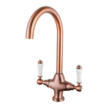 Butler & Rose Elizabeth Twin Lever Traditional Mono Kitchen Mixer - Antique Copper