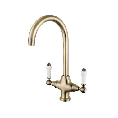 Butler & Rose Elizabeth Traditional Mono Kitchen Mixer - Antique Brass