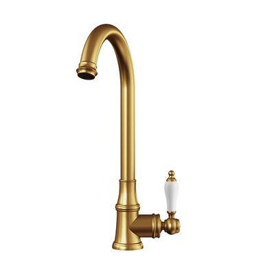 Butler & Rose Elizabeth Single Lever Traditional Mono Kitchen Mixer Tap - Brushed Gold