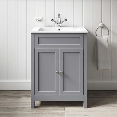 Butler & Rose Catherine Traditional Floorstanding Vanity Unit with Square Sink - Matt Grey