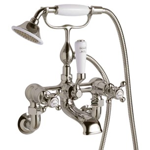Butler & Rose Caledonia Crosshead Wall Mounted Bath Shower Mixer with Shower Kit - Nickel
