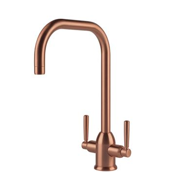 Clearwater Camillo Twin Lever Mono Kitchen Mixer - Brushed Copper