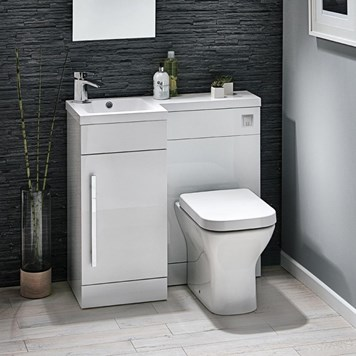 Structure Compact 900mm Furniture Suite inc. Vanity & Basin, Toilet & Seat and Concealed Cistern - Gloss White