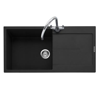 Caple Canis 1 Bowl Anthracite Granite Composite Kitchen Sink & Waste Kit with Reversible Drainer - 1000 x 500mm