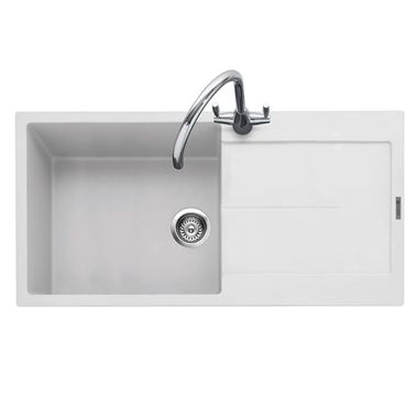 Caple Canis 1 Bowl Chalk White Granite Composite Kitchen Sink & Waste Kit with Reversible Drainer - 1000 x 500mm