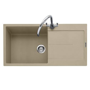 Caple Canis 1 Bowl Desert Sand Granite Composite Kitchen Sink & Waste Kit with Reversible Drainer - 1000 x 500mm