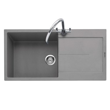 Caple Canis 1 Bowl Pebble Grey Granite Composite Kitchen Sink & Waste Kit with Reversible Drainer - 1000 x 500mm