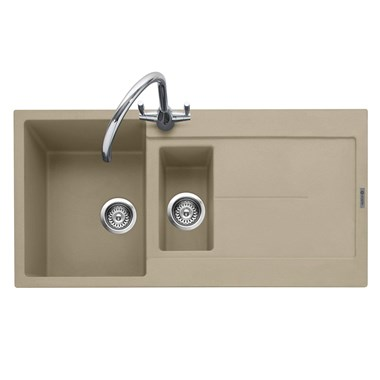 Caple Canis 1.5 Bowl Desert Sand Granite Composite Kitchen Sink & Waste Kit with Reversible Drainer - 1000 x 500mm