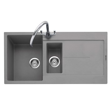 Caple Canis 1.5 Bowl Pebble Grey Granite Composite Kitchen Sink & Waste Kit with Reversible Drainer - 1000 x 500mm