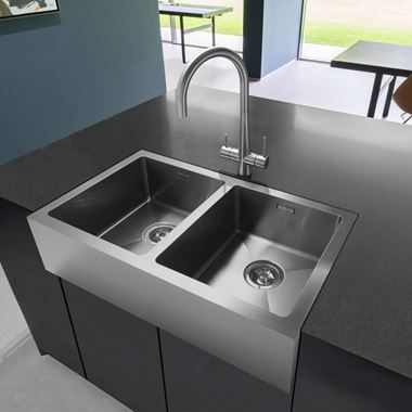 Caple Double Bowl Brushed Stainless Steel Belfast Kitchen Sink & Waste Kit - 795 x 465mm
