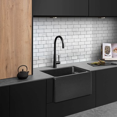 Caple Belfast 1 Bowl Black Granite Composite Kitchen Sink - 595 x 455mm