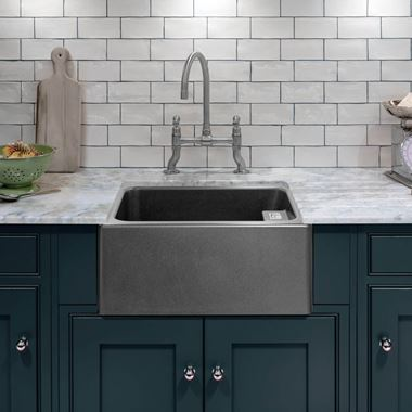 Caple Belfast 1 Bowl Grey Granite Composite Kitchen Sink - 595 x 455mm