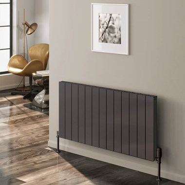 Reina Casina Aluminium Single Panel Horizontal Designer Radiator - Anthracite