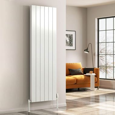 Reina Casina Single Panel Vertical Designer Radiator - White - 1800 x 280mm